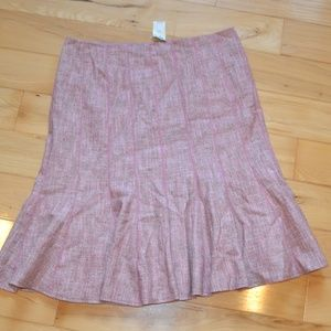 Ann taylor pink tan tweed wool skirt sz 12 new